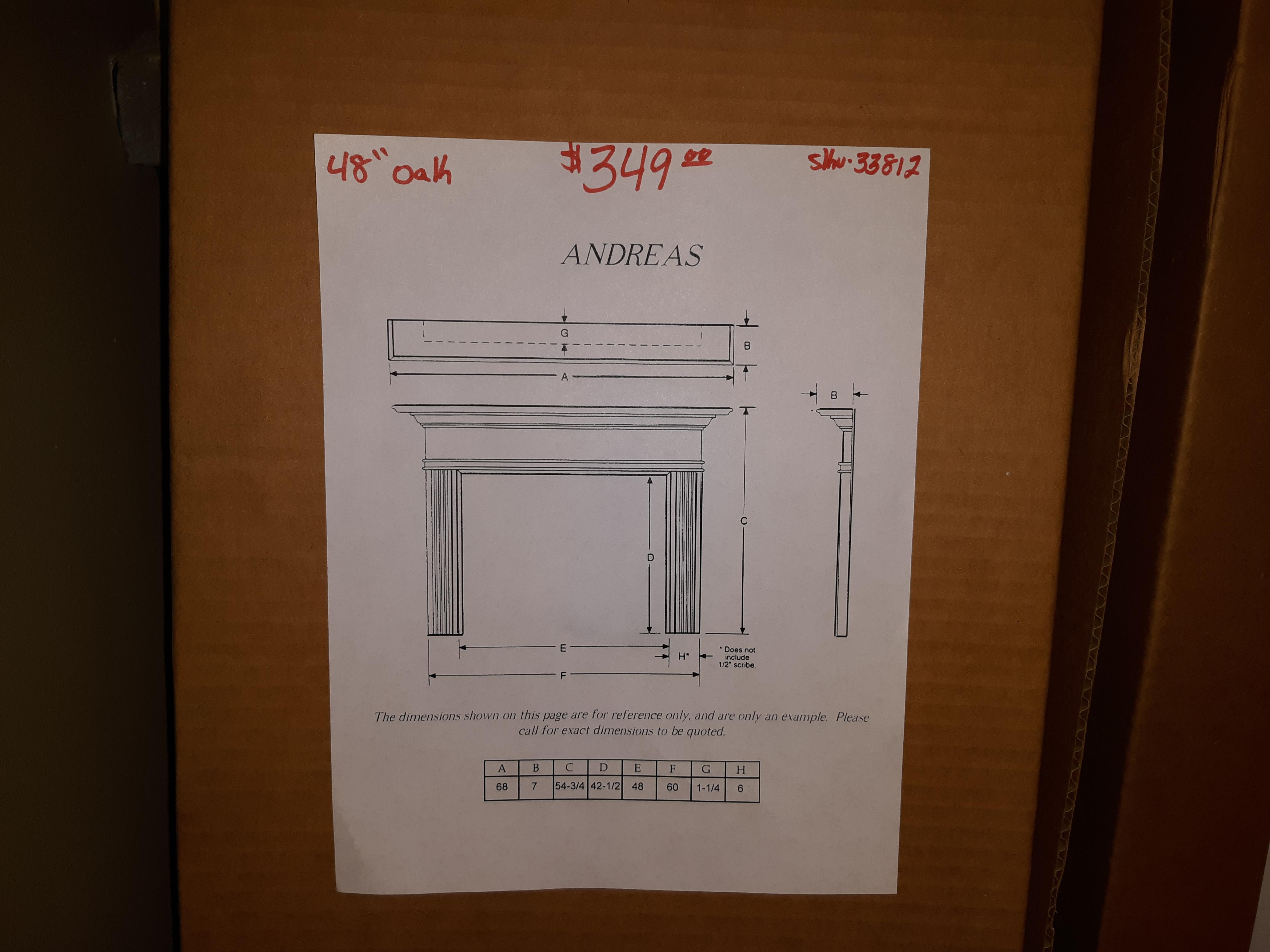 "48"" Andreas Oak Fireplace Mantel Surround- unfinished"