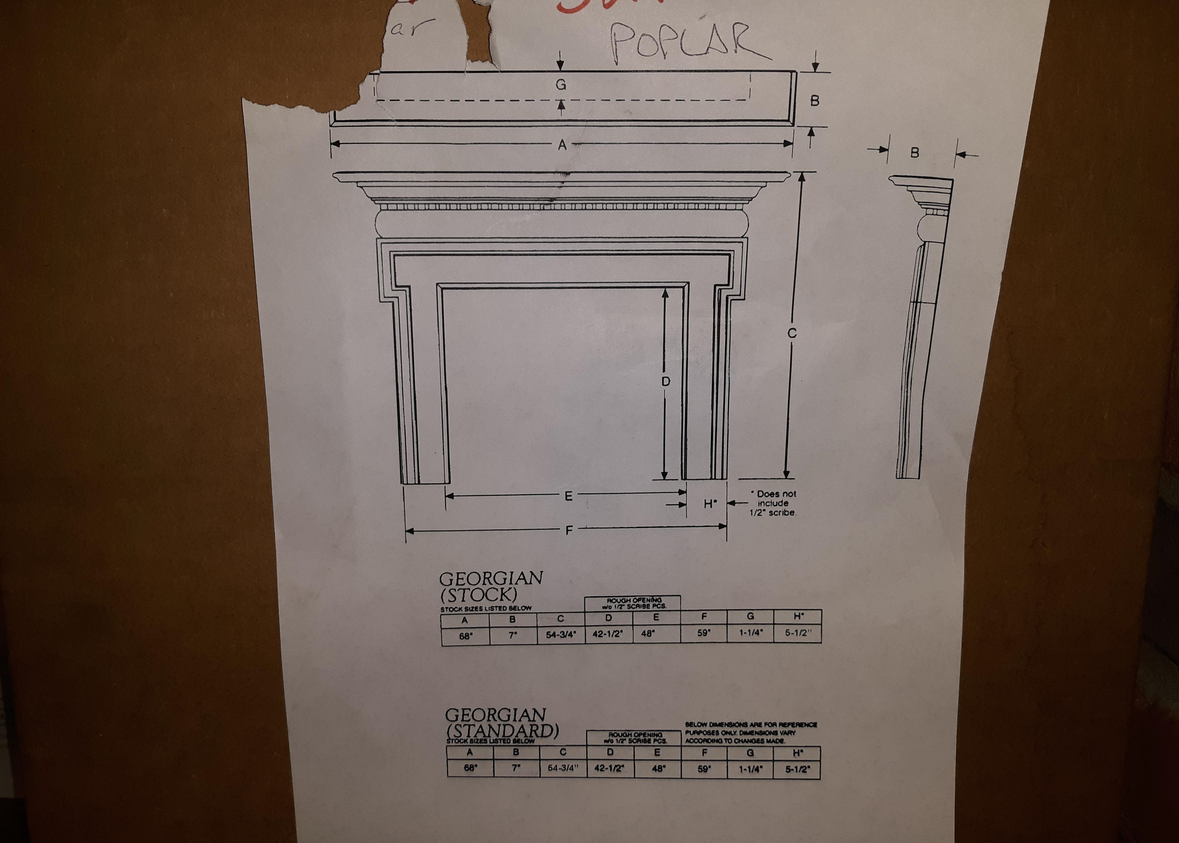 "48"" Georgian Poplar Mantel Surround- unfinished"