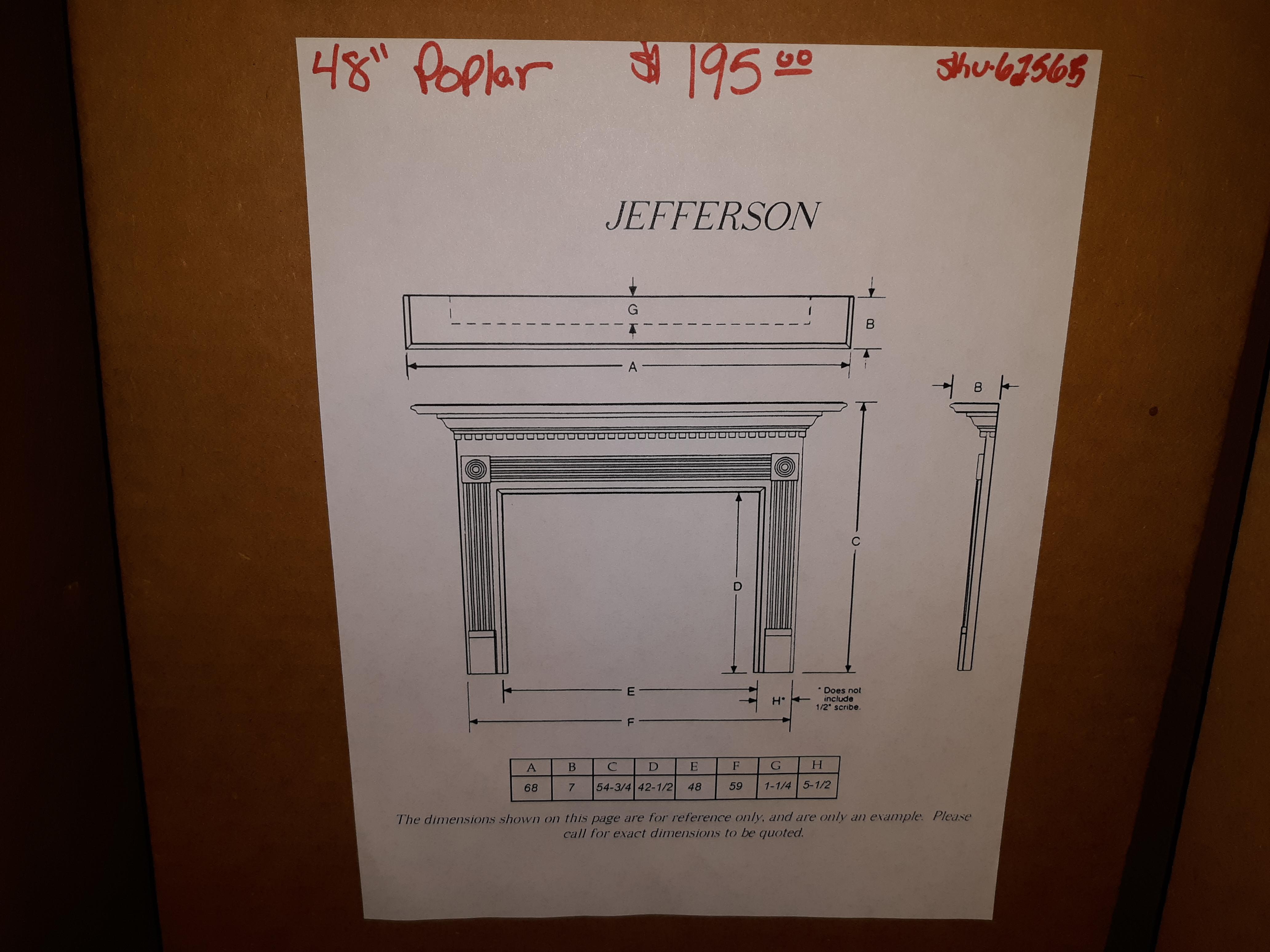 "48"" Jefferson Poplar Mantel Surround- unfinished"