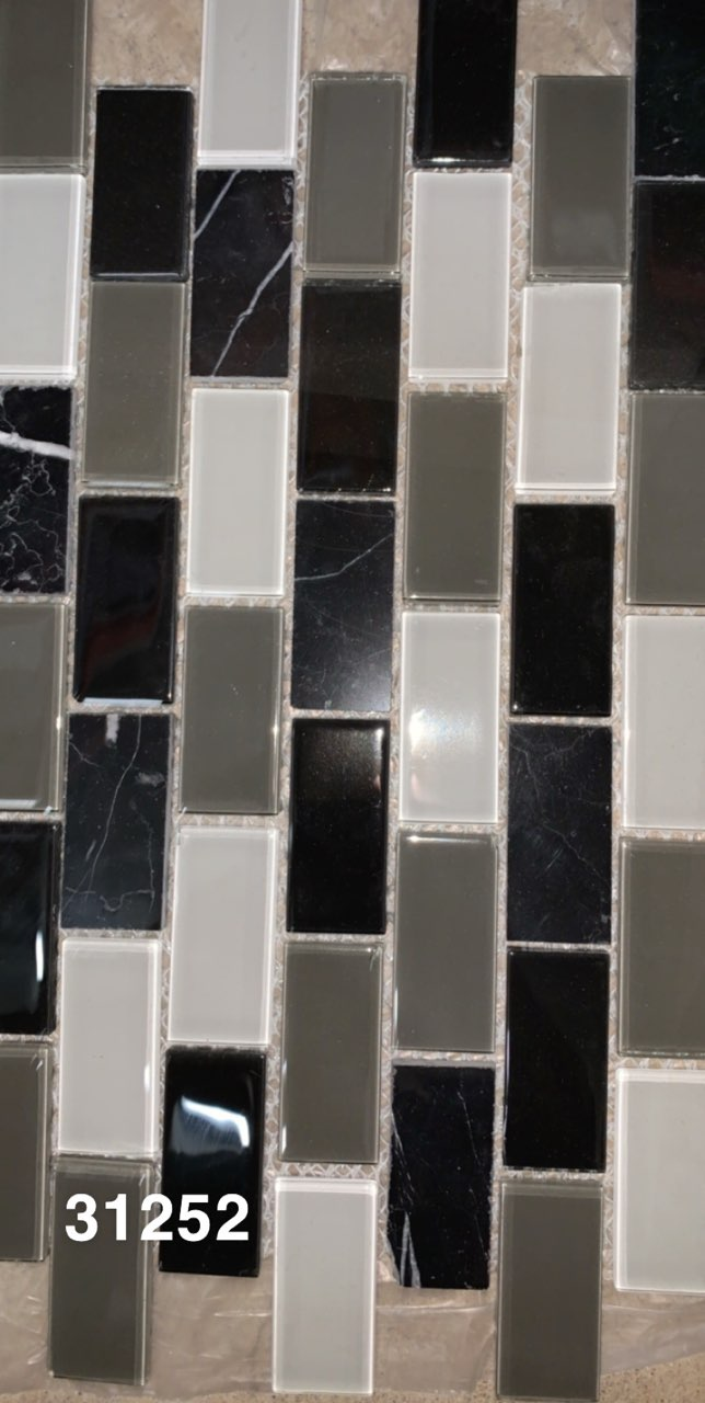 Black & Gray 1x2 Glass Tiles- 1sf panels