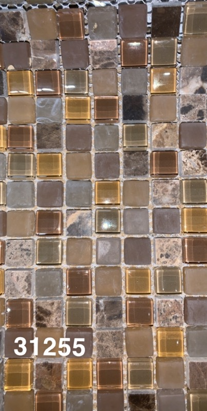 Castana Mocha 5/8x5/8 Glass tiles- 1 sf each