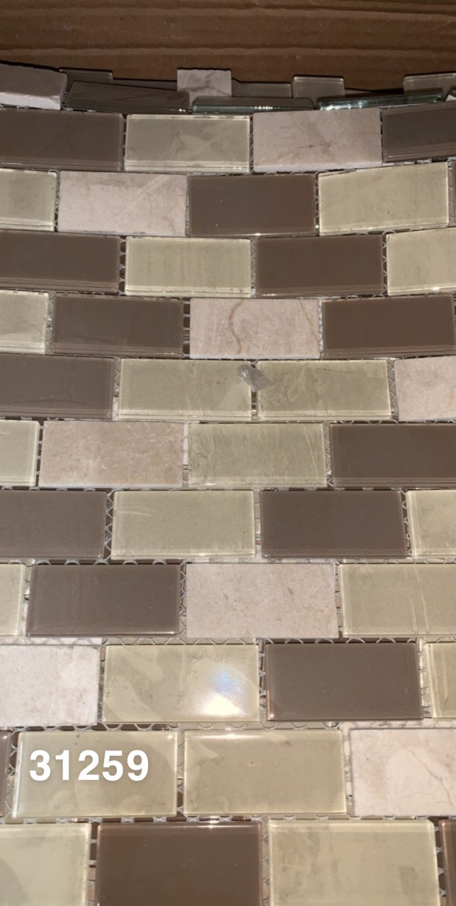 Beige 1x2 Glass wall tile panels- 1sf/panel